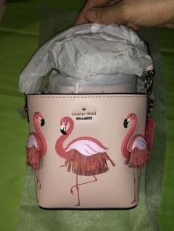 100% AUTH NWT KATE SPADE BY THE POOL PINK FLAMINGO BUCKET CR