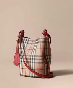 100% Authentic Burberry Lightweight Leather and Haymarket Ch