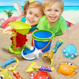 11Pcs Beach Toys Set For Kids With Hourglass,Bucket, Waterin