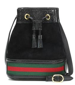$1390 NEW!! Gucci Black Suede Leather Mini Ophidia Bucket Ba