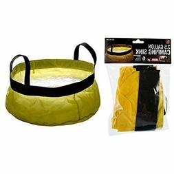 2.5 Gallon Yellow Collapsible Camping Sink Bucket With Handl