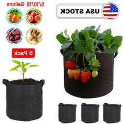 5 Pack Grow Bags Garden Aeration Plant Fabric Pots w/Handles