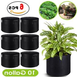 6pcs 10 Gallon Fabric Grow Bags Breathable Plant Pack Smart