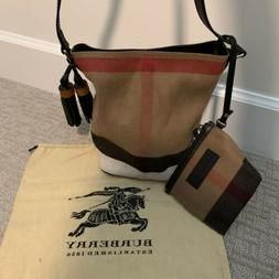 AUTHENTIC Burberry Canvas Check Mini Ashby Tassel Bucket Bag