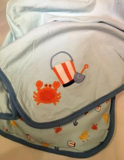 Gymboree Blanket Crab Beach Sand Castle Bucket Shovel Blue B