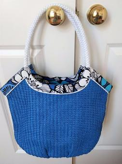 VERA BRADLEY Blue/White Floral Straw Bucket Tote with 2 Brai