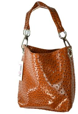 Funny Girl Brand Camel Ostrich Bucket Bag Purse Large Silver