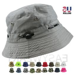 Bucket Hat Cap Cotton Fishing Boonie Brim Visor Sun Safari S