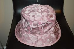 COACH BUCKET HAT ICONIC PATTERN JACQUARD PINK LEATHER TRIM S