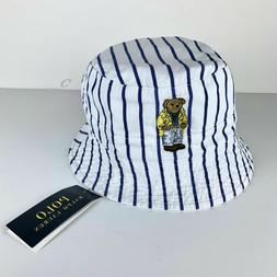 Polo Ralph Lauren Bucket Hat Reversible BEAR Crest Cap Strip