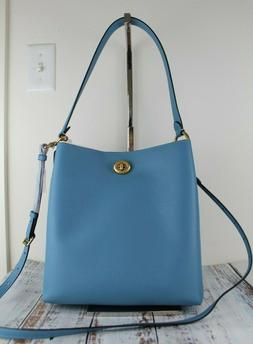 COACH Charlie Polished Pebble Leather Turnlock Bucket Bag Pa