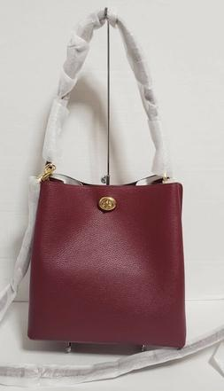 Coach Charlie Turnlock Pebbled Leather Bucket Bag Gold Deep