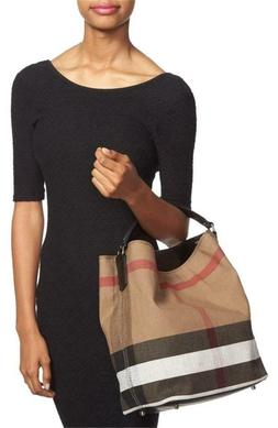 Burberry Brit 'Medium Susanna' Check Print Bucket Bag - Blac