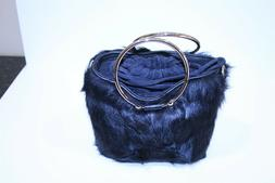 MILLY Faux Fur Drawstring Bucket Purse Black With Shoulder S