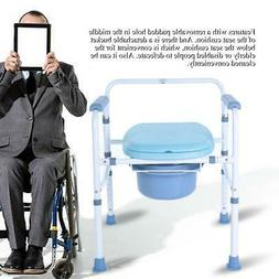 Foldable Commode Chair Folding Bucket Mobile Toilet Stool To