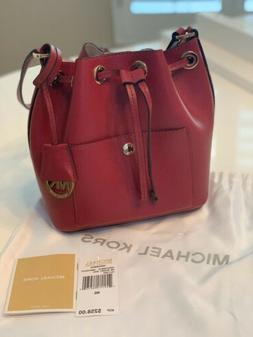 Michael Kors Greenwich Small Bucket Leather Bag Cherry Red