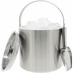 Insulated Ice Bucket With Scoop Lid And Handle, Stainless St