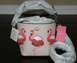 💚 KATE SPADE By the Pool Flamingo Pippa Leather Bucket Ba