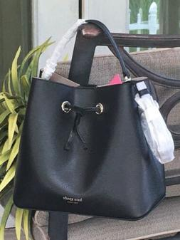 KATE SPADE EVA LARGE BUCKET SHOULDER TOTE BAG CROSSBODY BLAC