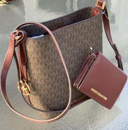 Michael Kors Kimberly Merlot Brown Bucket Bag Crossbody Jet