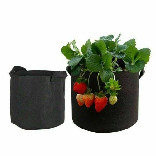 5 Bags Fabric Pots Root Pouch Handle 5/10/15 Gallon