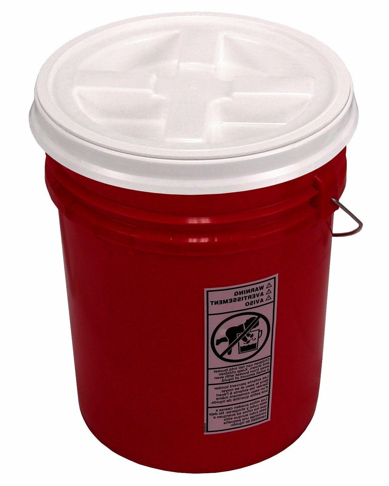 5 gallon red bucket with gamma seal
