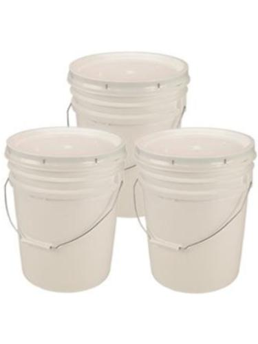 Living Whole Foods 5 Gallon White Bucket & Lid - Set of 3 -