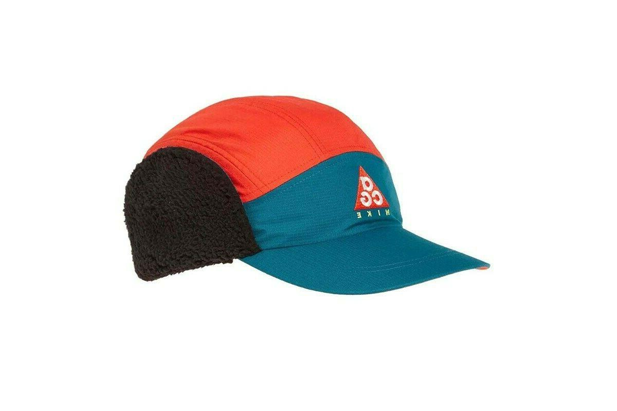 AR0497-381 NWT Nike ACG Tailwind Sherpa Strapback Hat with Ear Teal Red