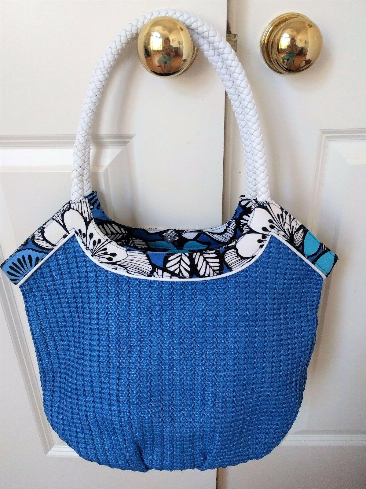 blue white floral straw bucket tote