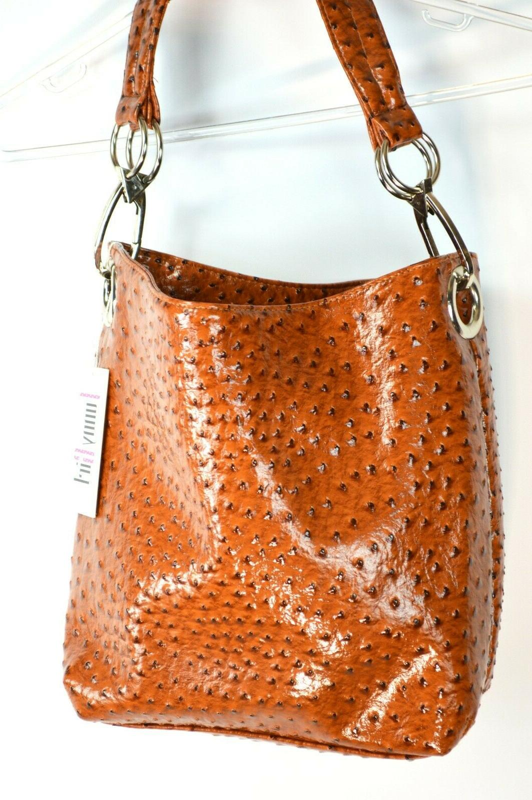Funny Girl Camel Ostrich Bucket Bag Large Hardware NWT