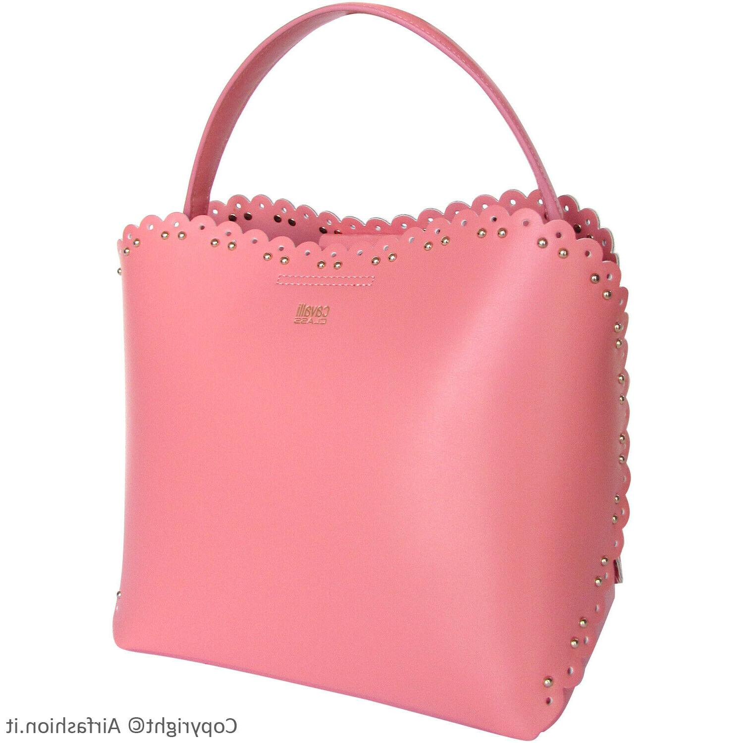 cavalli class by pink leather small bucket
