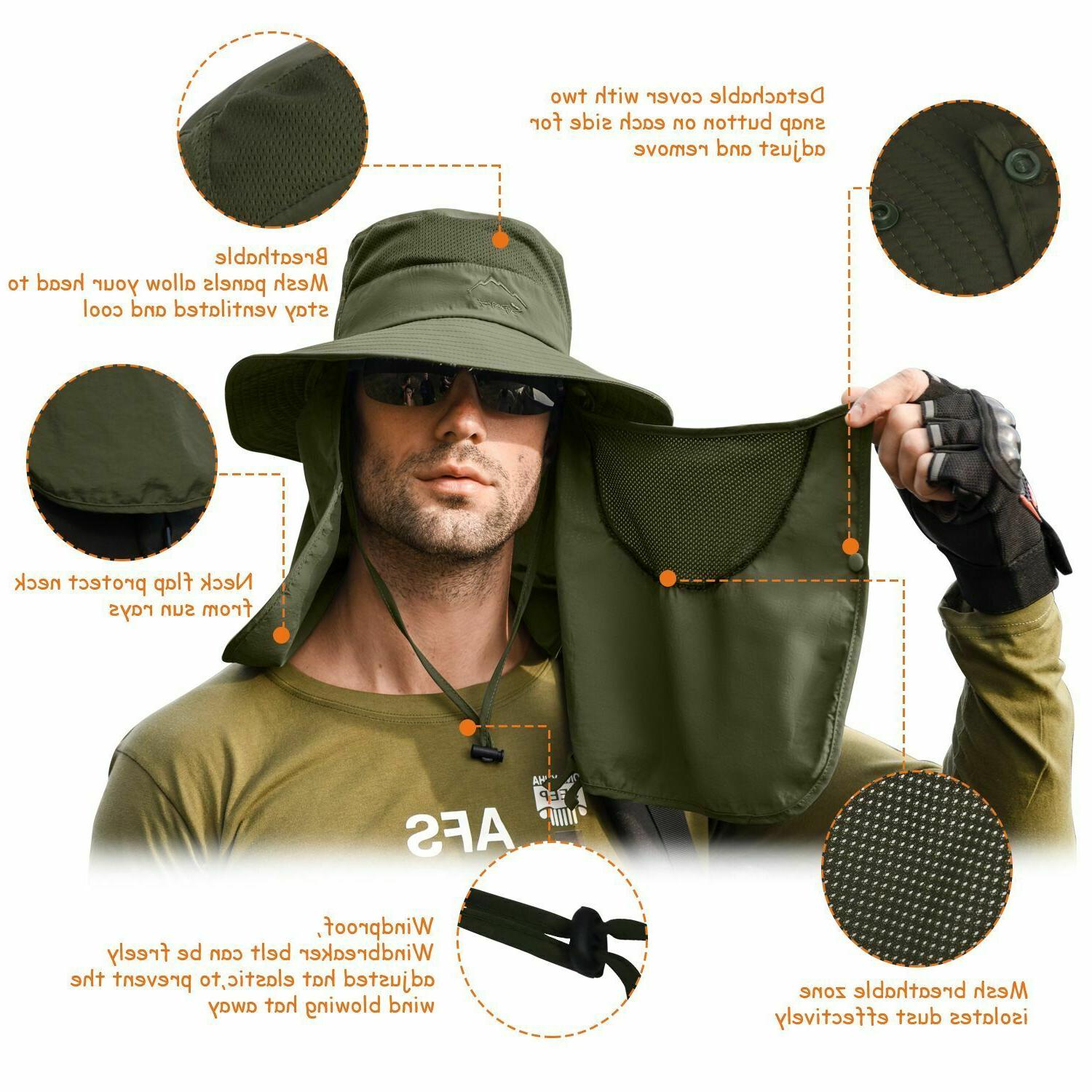 Fishing Bucket Wide Hat Protection Flap