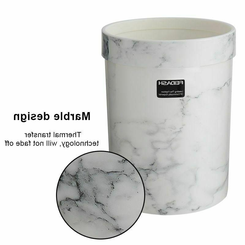 Home Eco-Friendly Round Shapes Trash Cans Marble Pattern Storage Bucket