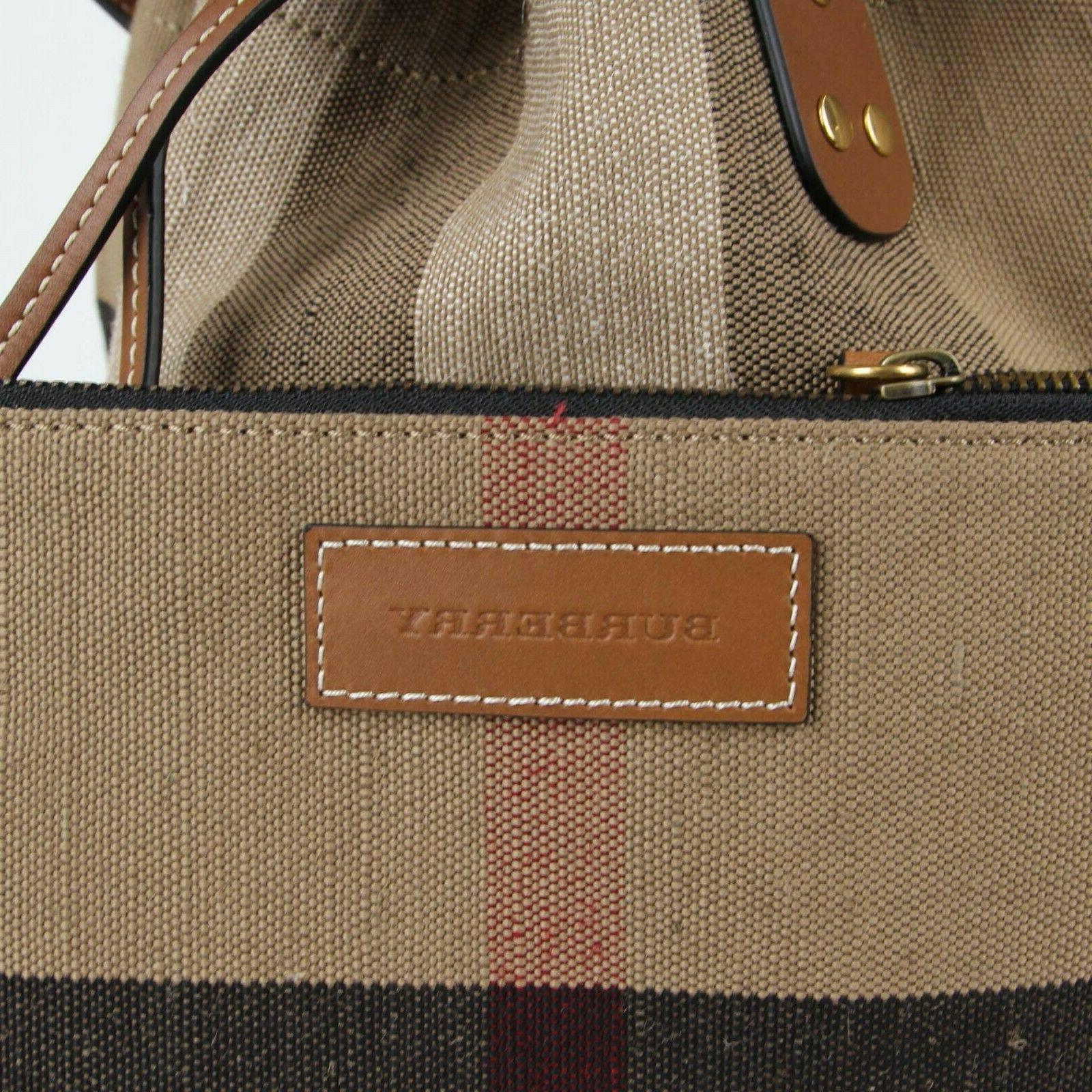 New Burberry Canvas Check Heston Bucket Bag