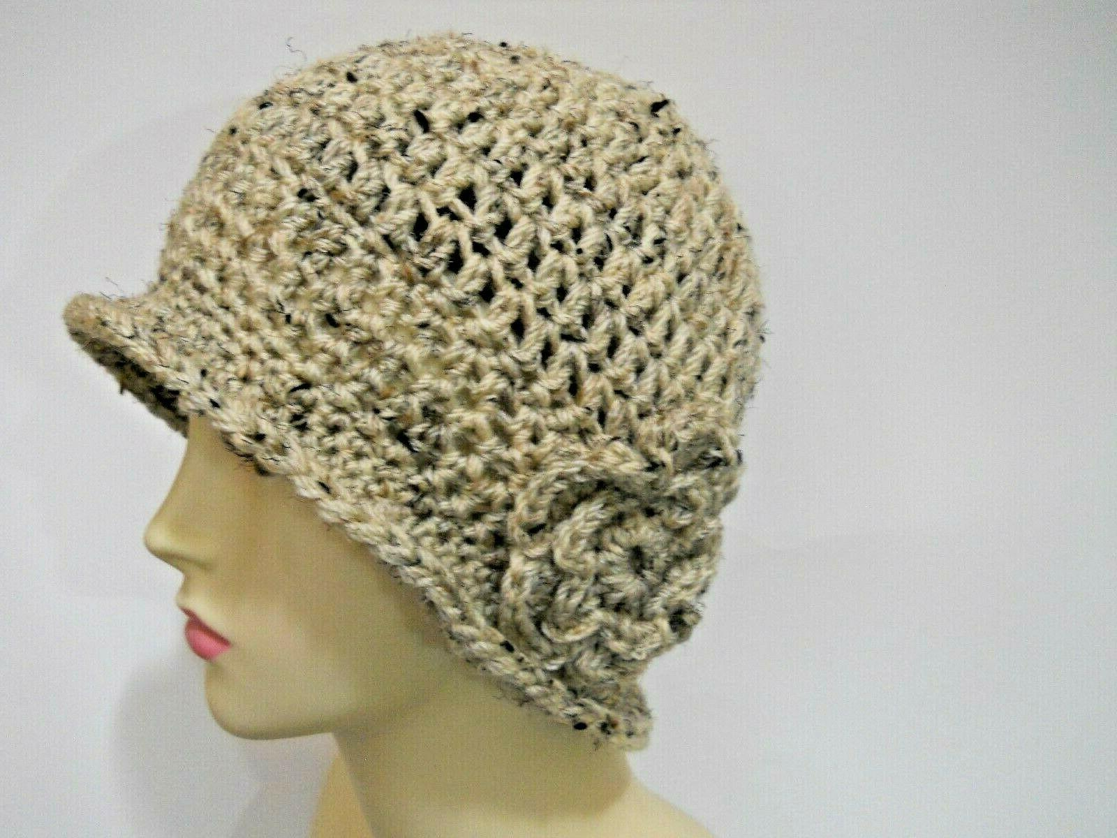 oatmeal tweed crocheted cloche hat cap chemo