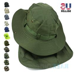 Men Women Bucket Hat Boonie Neck Flap Cover Sun Brim Fishing