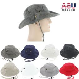 Mens Boonie Bucket Hat Cap Cotton Wide Brim Sun Outdoor Fish