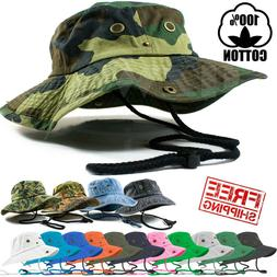 Mens Outdoor Boonie Bucket Hat Fishing Camping Military 100%