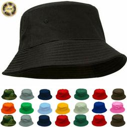 Mens Womens Bucket Hat Cap Cotton Fishing Boonie Brim Summer