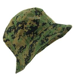Mens Womens Digital Woodland Camo Bucket Hat Cap Boonie Brim