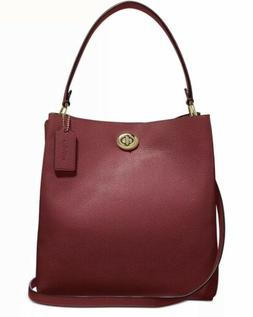 New Coach 55200 Deep Red Polished Pebble Leather Charlie Buc