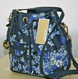 New Michael Kors Greenwich Navy Floral Crossbody Shoulder Bu