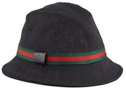 NEW GUCCI ORIGINAL GG CANVAS WEB LOGO LEATHER TAG FEDORA BUC