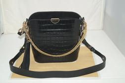 NWT Authentic MICHAEL KORS BEA Black Leather w/ Gold Tone Bu
