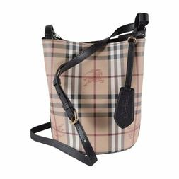 NWT BURBERRY HAYMARKET CHECK LORNE BUCKET CROSSBODY BAG WOME