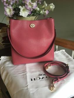 NWT COACH CHARLIE BUCKET DUSTY PINK PEBBLE LEATHER SHOULDER