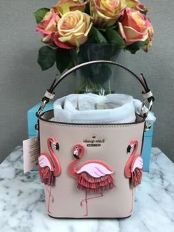 NWT Kate Spade BY THE POOL Flamingo Pippa Leather Bucket Bag