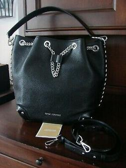 nwt mk alanis black pebble leather bucket
