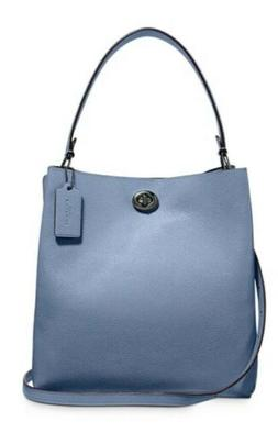 NWT COACH Stone Blue Pebbled Leather Turnlock Charlie Bucket