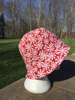Peppermint Candy Hat Reversible Bucket hat. Summer Hat Size